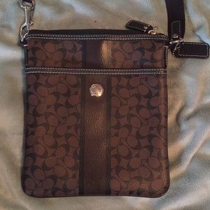 Coach crossbody  leather black and brown logo